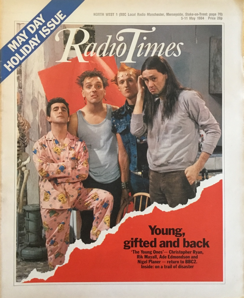 Front cover of The Radio Times featuring the cast of the young ones