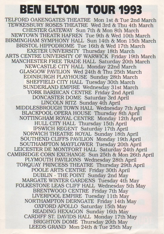Ben Elton Tour 93 leaflet, back