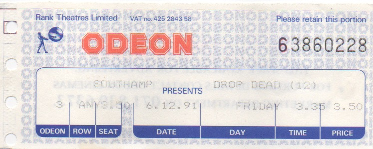 Drop Dead Fred cinema ticket