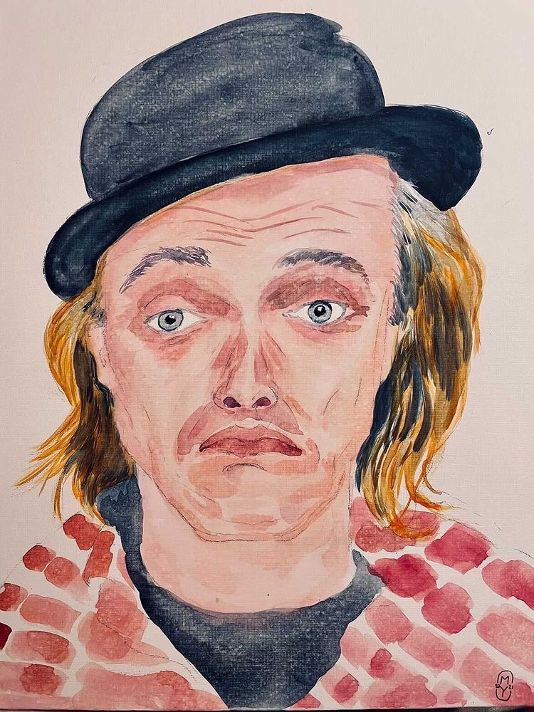 Rik Mayall painting by Mark Young