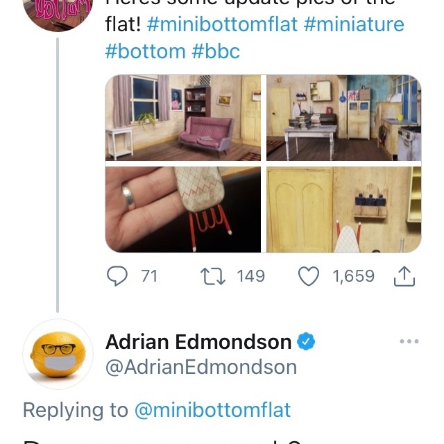 Adrian Edmondson's tweet to Natalie's mini bottom flat