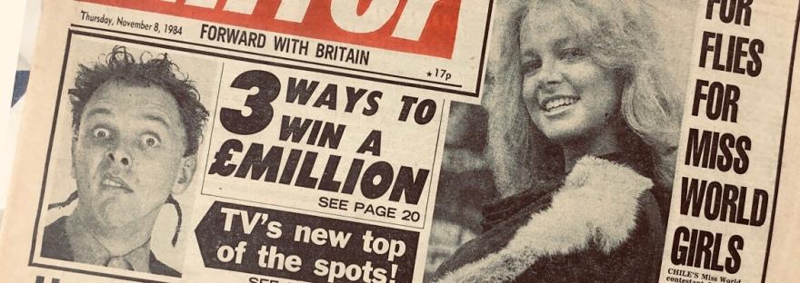 Daily Mirror newspaper featuring Rik Mayall