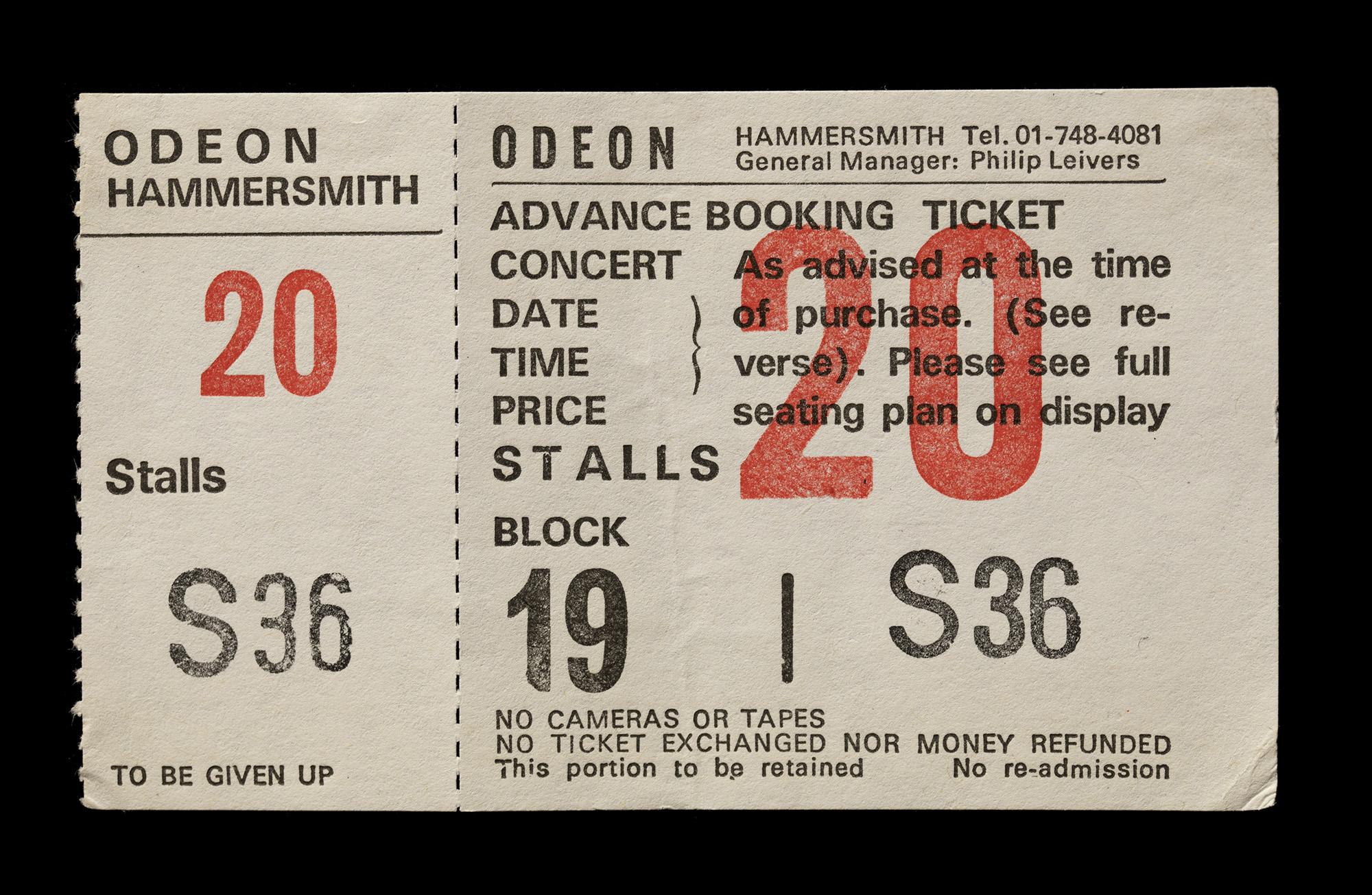 Ticket of Neil's tour, London 1984