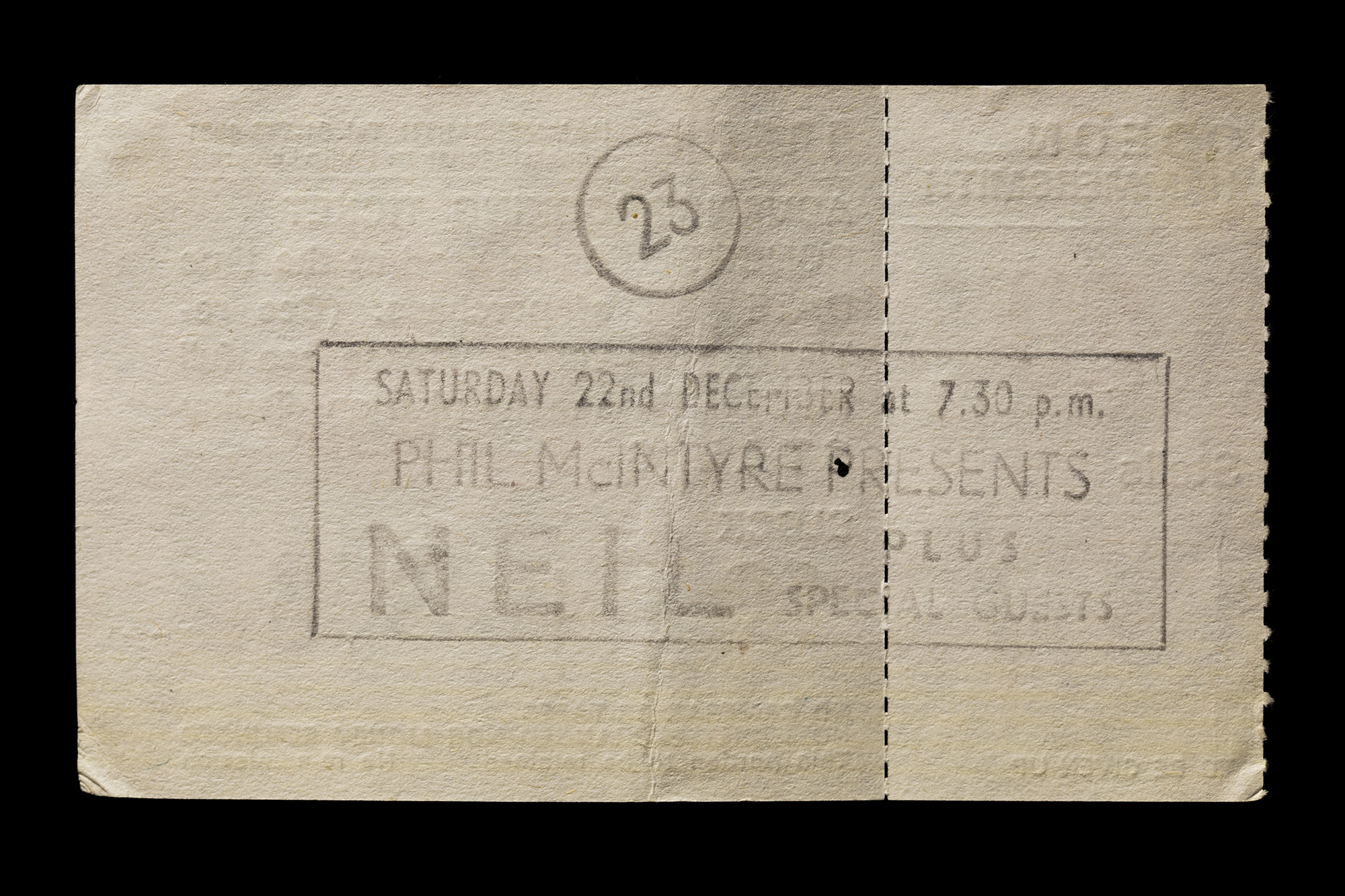 reverse of ticket, Neil's tour London 1984