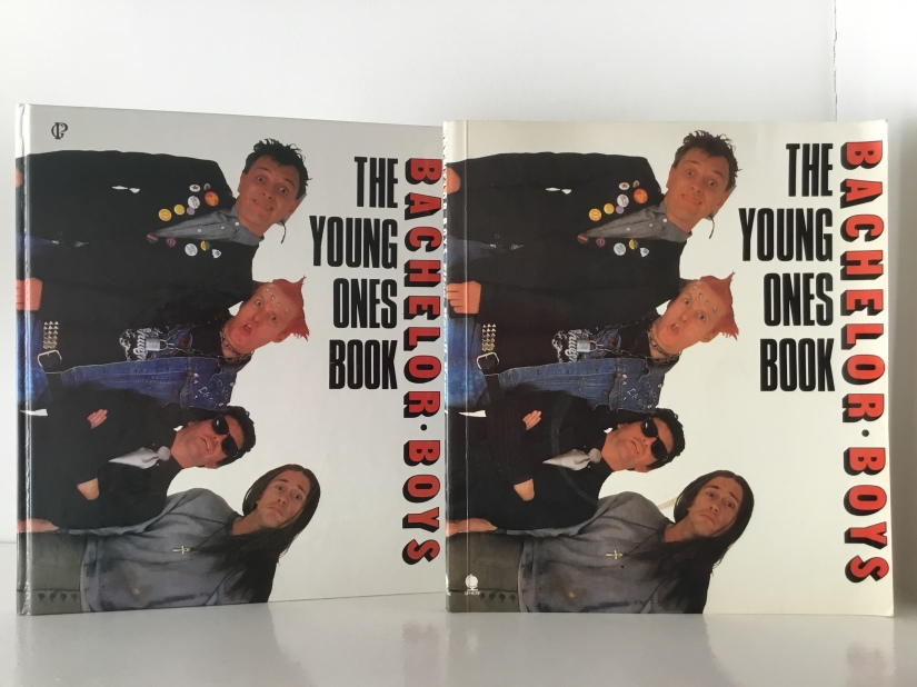 Hardback and paperback editions of the young ones book, bachelor boys.