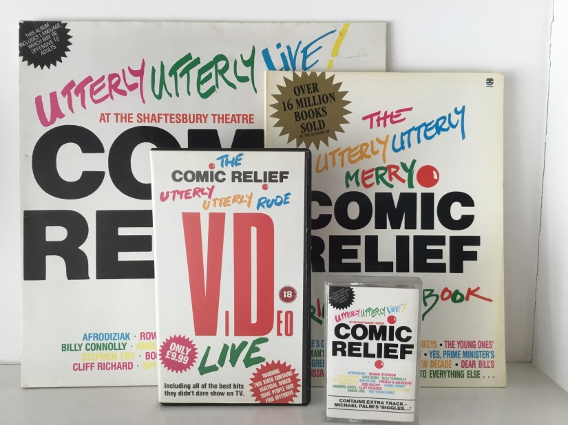 Comic Relief Utterly Utterly Live, the LP, Book, Video and Cassette Tape.