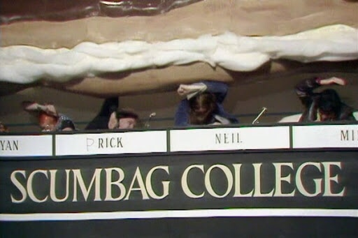 a giant chocolate eclair falls on the scumbag students.
