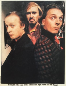 Adrian Edmondson, Nigel Planer and Rik Mayall as Edward Catflap, Ralph Filthy ans Richie Rich from the sitcom Filthy Rich and Catflap.