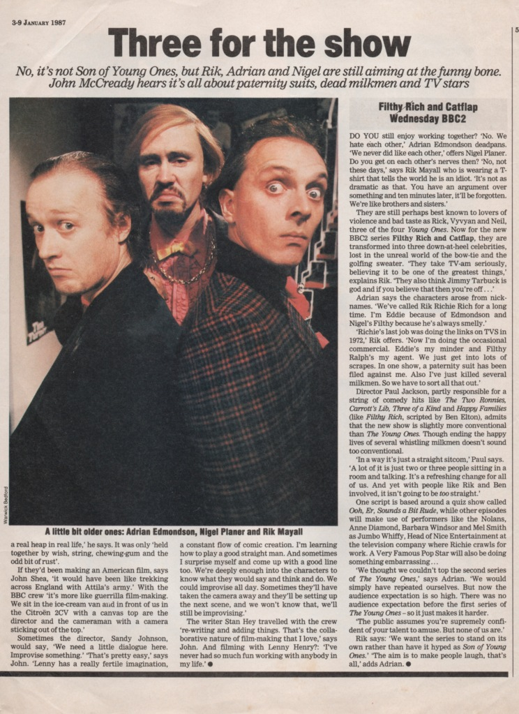 Ade Edmondson, Nigel Planer and Rik Mayall as Filthy Rich and Catflap. Radio Times article Three for the Show 3-9 January 1987